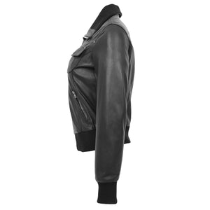 Womens Leather Classic Bomber Jacket Motto Black 4