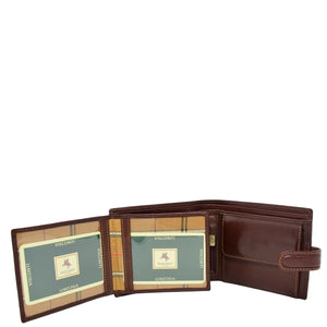 Mens Buckle Closure Leather Wallet Hamburg Brown 4