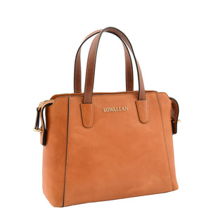Womens Leather Small Tote Cross Body Bag Elsie Tan 3