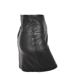 Ladies Leather 16inch Mini Length Pencil Skirt SKT5 Black side