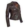 Womens Soft Leather Cross Zip Biker Jacket Anna Brown 4