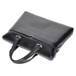 twin grab handle leather bag