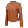 Womens Leather Classic Biker Style Jacket Alice Tan 3