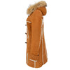Womens Sheepskin Duffle Coat 3/4 Length Parka Beth Tan White 5