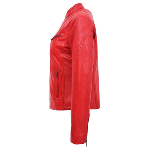 Womens Leather Standing Collar Jacket Becky Red 4