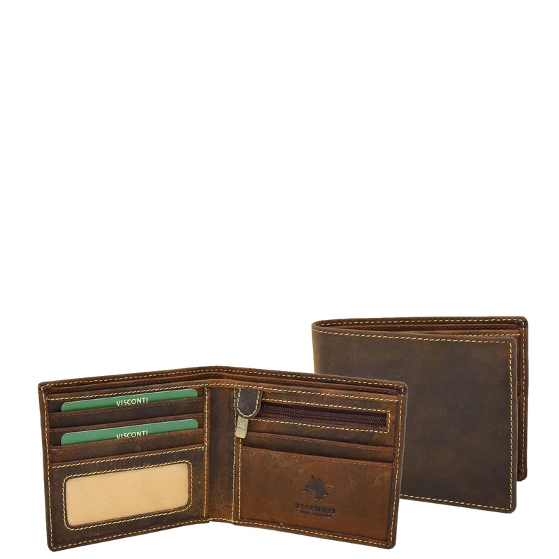 Mens Leather Slim Fold Wallet Prague Oil Tan