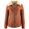 Womens Sheepskin Mid Length Coat Scarlett Whiskey 3