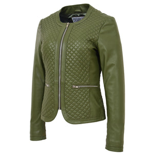 Womens Leather Collarless Jacket with Quilt Design Joan Olive Green 3