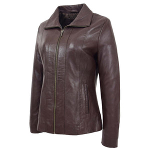 Womens Classic Zip Fastening Leather Jacket Julia Brown 4