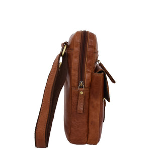 Mens Leather Cross Body Classic Flight Bag Ashton Tan 3