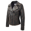 Womens Soft Leather Cross Zip Biker Jacket Lola Vintage Black 3