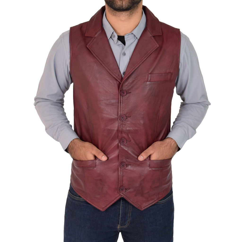 mens red leather waistcoat