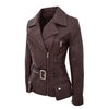 Womens Leather Hip Length Biker Jacket Celia Brown 5