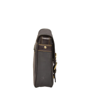 leather flap over case with an adjustable shoulder strap