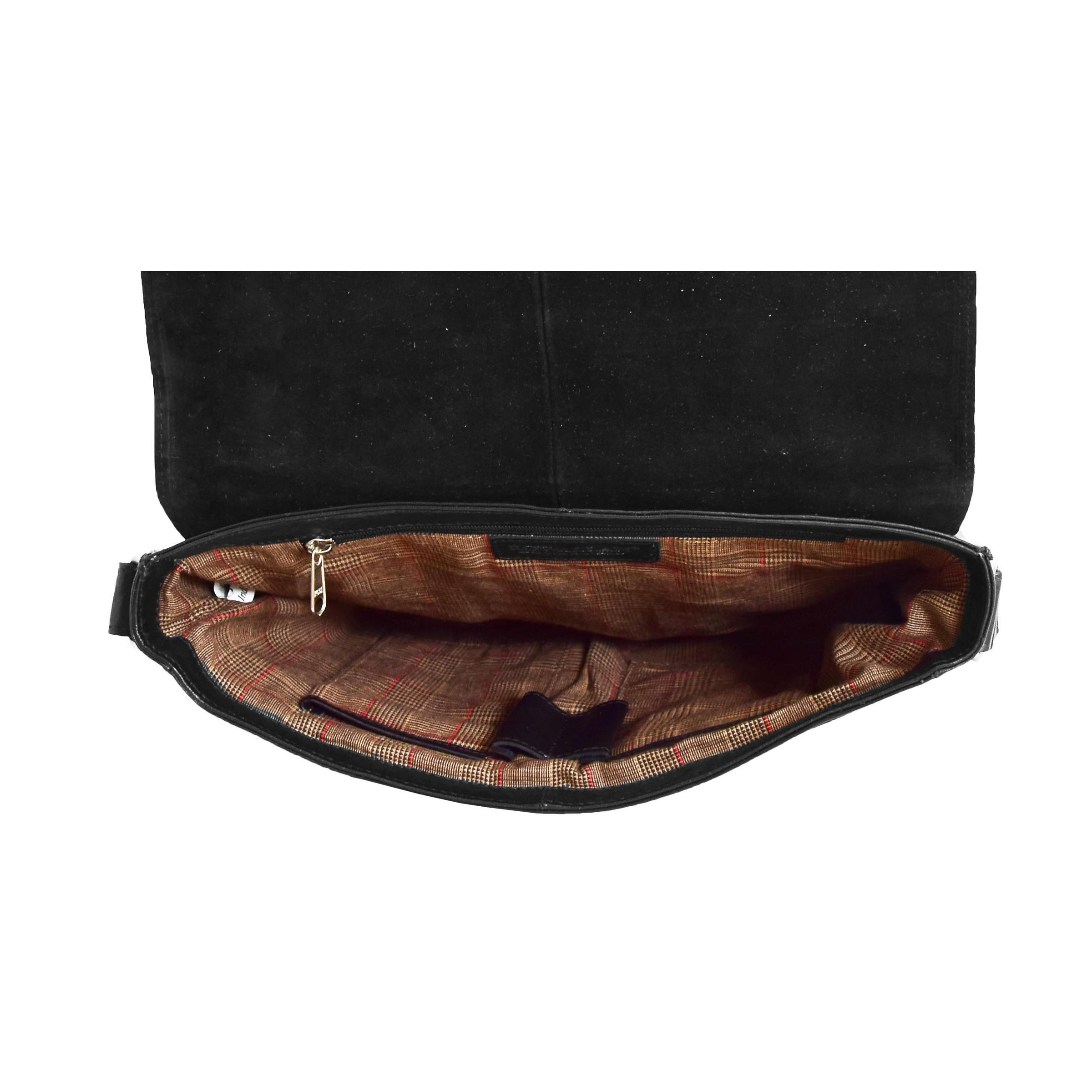 b17cfd92b Mens Leather Flap Over Cross Body Bag Black | House of Leather