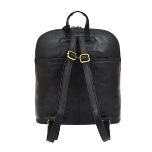 Womens Leather Casual Mid Size Backpack Doris Black 3