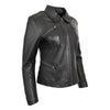 Womens Classic Leather Biker Zip Box Jacket Nova Black 4