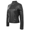 Womens Leather Casual Standing Collar Jacket Ivy Black 3