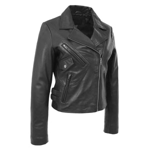Womens Soft Leather Cross Zip Casual Jacket Jodie Black 4