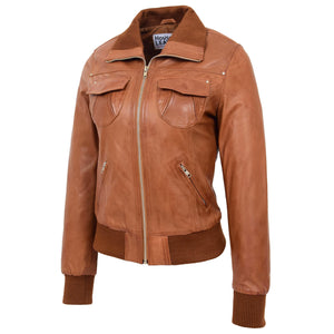 Womens Leather Classic Bomber Jacket Motto Tan 3