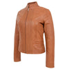 Womens Leather Casual Standing Collar Jacket Ivy Tan 4