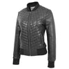 Womens Leather Varsity Quilted Bomber Jacket Sally Black 4