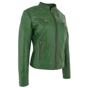 Womens Leather Standing Collar Jacket Becky Green 4