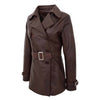 Womens Leather Double Breasted Trench Coat Sienna Brown 5