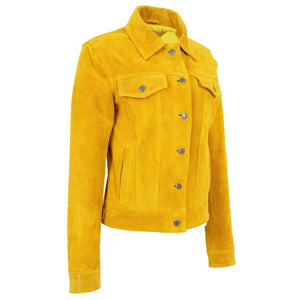 Womens Soft Suede Trucker Style Jacket Alma Yellow 3