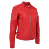 Womens Soft Leather Casual Zip Biker Jacket Ruby Red 4