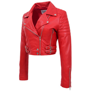 Womens Leather Cropped Biker Style Jacket Demi Red 4