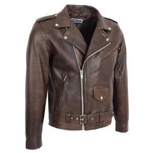 Mens Heavy Duty Leather Biker Brando Jacket Kyle Antique Brown 3
