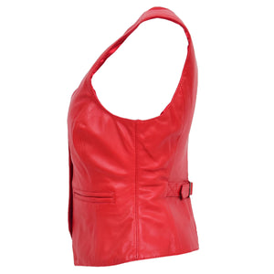 Womens Leather Classic Buttoned Waistcoat Rita Red 4