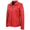 Womens Classic Zip Fastening Leather Jacket Julia Red 4
