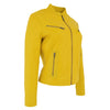 Womens Leather Standing Collar Jacket Becky Yellow 3