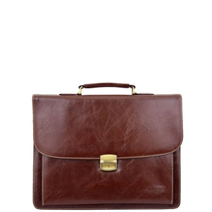 Mens Faux Leather Flap Over Briefcase Windsor Brown 2
