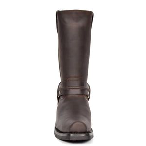 calf length biker boot in brown