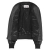 Womens Real Leather Varsity Bomber Jacket Faye Black 4