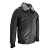 Boys Leather Bomber Jacket with Detachable Collar Liam Black 3