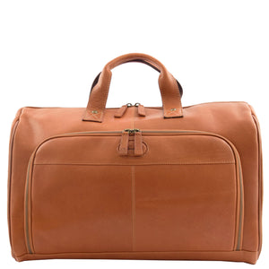 Genuine Leather Travel Holdall Overnight Bag HL015 Tan 2