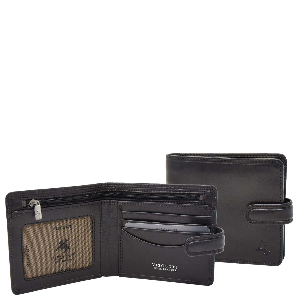 Mens RFID Slim Fold Leather Wallet Eastbourne Black