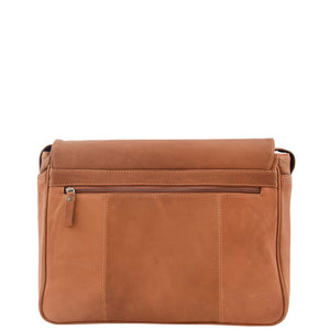 Mens Leather Flap Over Messenger Bag Cheriton Tan 1