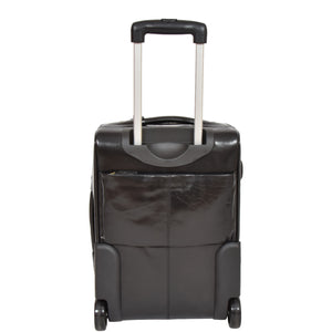 suitcase with back zip pocket