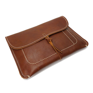 Copy of Leather Clutch Bag Small Wrist Pouch A5 Size Case H8063 Tan Top