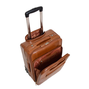 Exclusive Leather Cabin Size Suitcase Kingston Tan 4