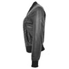 Womens Leather Varsity Quilted Bomber Jacket Sally Black 5