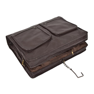 leather garment carrier with wardrobe hook