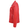 Womens Classic Zip Fastening Leather Jacket Julia Red 5