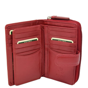 Womens Leather Booklet Style Purse Dublin Red 4