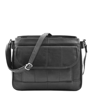 Womens Leather Cross Body Messenger Bag HOL002 Black 2